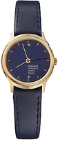 Mondaine Mh1.l1141.ld Unisex Helvetica Leather Strap Watch, Navy