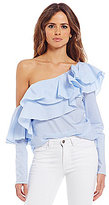Gianni Bini Dorothee Ruffled One-Shoulder Poplin Blouse