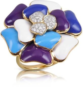 Rosato Rose - Diamond and 18K Gold Blue Flower Ring