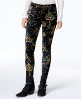 Free People Lennon Printed Zip-Detail Skinny Pants