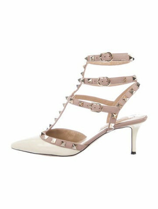 Valentino Rockstud Accents Patent Leather Sandals