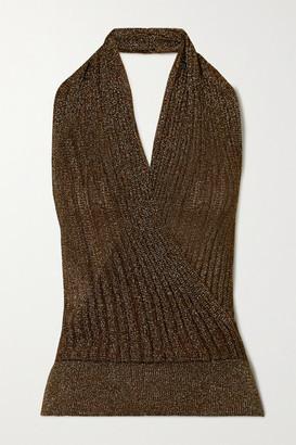 Missoni Ribbed Metallic Crochet-knit Halterneck Top - Gold