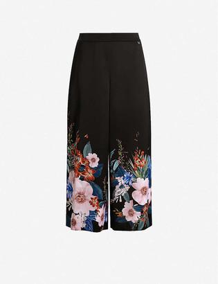 Ted Baker Medou floral-print wide-leg high-rise satin culottes
