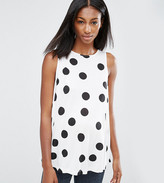 Asos Tall Sleeveless Swing Top In Spot Print