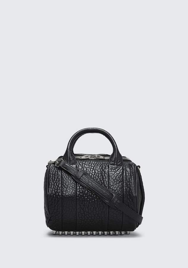 Alexander Wang ROCKIE IN PEBBLED BLACK WITH RHODIUM Shoulder Bag