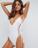 Blue Life Rope Tie Side Plunge Swimsuit