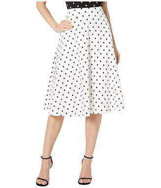 Unique Vintage Retro Style White Black Polka Dot High-Waisted Vivien Swing Skirt