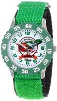 Disney Kids' W000879 Planes Fire & Rescue El Chupacabra Stainless Steel Time Teacher Green Bezel Green Nylon Strap Watch