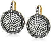 "Freida Rothman Metropolitan"" Two Tone Plated Times Square Drop Earrings"