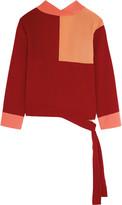 Jonathan Saunders Faustine color-block crepe de chine wrap top