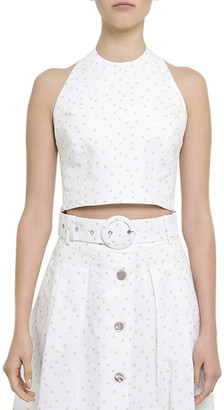 Rebecca Vallance Holliday Wrap Linen-Blend Crop Top