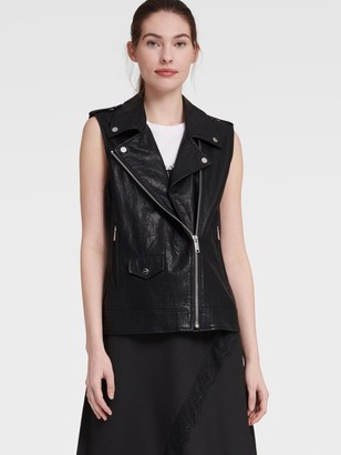 DKNY Women's Faux Leather Moto Vest - Black - Size XS