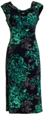 Connected Plus Size Floral Cowlneck Midi Dress