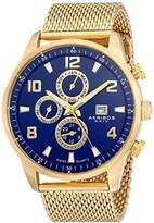 Akribos XXIV Men's AK784YGBU Multifunction Swiss Quartz Movement Watch with Blue Dial and Yellow Gold Stainless Steel Bracelet