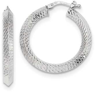 14K White Gold Textured Hollow Hinged Hoop Earring by Versil
