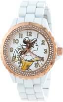 Disney Women's W001001 Belle and Rose Gold Enamel Watch