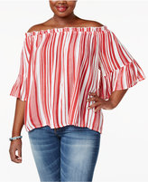 Planet Gold Trendy Plus Size Striped Off-The-Shoulder Top