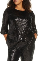 Gibson x Glam Living in Yellow Bell Sleeve Sequin Top