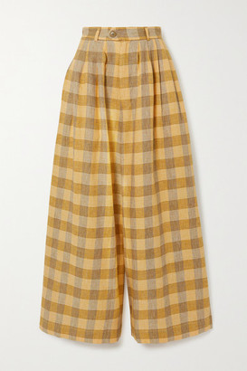 KING & TUCKFIELD Checked Linen Wide-leg Pants - Yellow