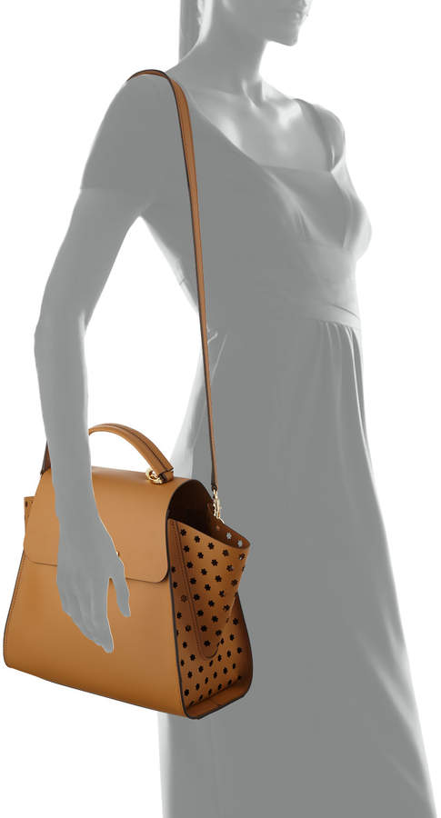 Zac Posen Eartha Side-Perforated Leather Crossbody Bag, Camel