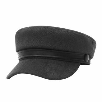 GEMVIE Womens Newsboy Hat Cotton Blend Flat Fiddler Cap Britsh Style Beret Peaked Cap Gatsby Sailors Cap Grey