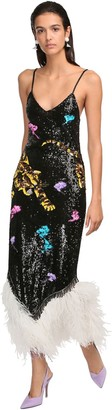 ATTICO Oriental Tiger Sequin Embellished Gown