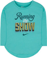 Nike Long-Sleeve Running The Show Tee - Preschool Girls 4-6x