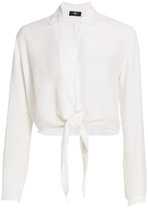 7 For All Mankind Tie-Waist Button-Up Shirt