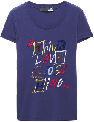 Love Moschino Embroidered Sequin-embellished Stretch-cotton Jersey T-shirt