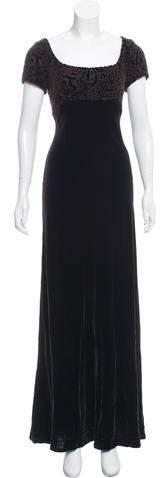 Carmen Marc Valvo Embellished Velvet Dress