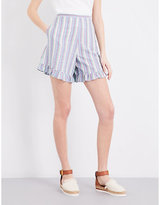 See by Chloe Ruffled striped stretch-cotton shorts