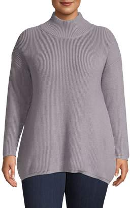 Lord & Taylor Plus Wide Mock Neck Ribbed Sweater