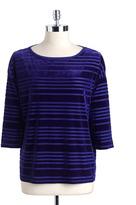Kate Hill Plus-Size Velour Striped Top