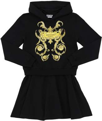 Moschino PRINTED COTTON SWEATER DRESS W/HOOD