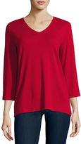 ST. JOHN'S BAY St. John'S Bay 3/4 Sleeve V Neck T-Shirt-Talls