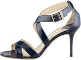 Jimmy Choo Louise Crisscross Patent Leather Sandal, Navy