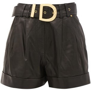 Balmain Belted High-rise Leather Shorts - Black