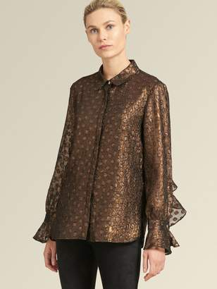 DKNY Snake-print Button-up Shirt With Ruffle Sleeve