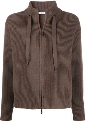 Peserico Zip-Through Drawstring Sweater