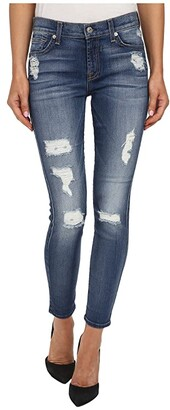7 For All Mankind The Ankle Skinny w/ Destroy in Distressed Authentic Light 2 (Distressed Authentic Light 2) Women's Jeans