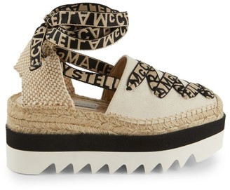 Stella McCartney Gaia Ankle-Wrap Canvas Wedge Espadrilles