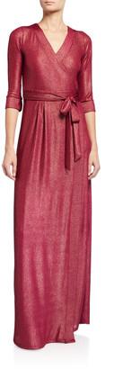 Melissa Masse Metallic Maxi Wrap Dress