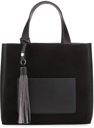 French Connection Linnet Mixed Media Tassel Shopper tote Bag