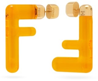 Fendi Ff Acetate Earrings - Yellow