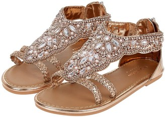 Monsoon Girls Valencia Beaded Scallop Sandal - Rose Gold