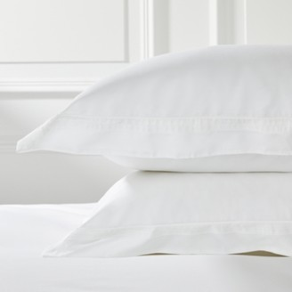 The White Company Cavendish Oxford Pillowcase with Border - Single. Clear.