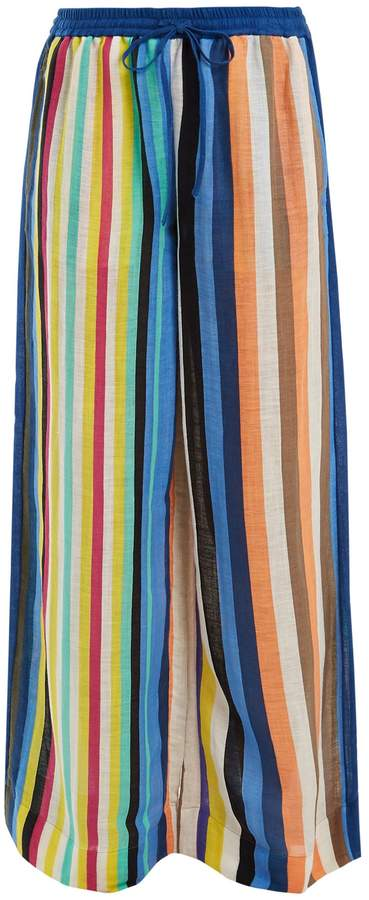Diane von Furstenberg Wide-leg striped linen trousers