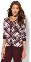 New York & Co. 7th Avenue Design Studio - Crewneck Chelsea Cardigan - Linear Print