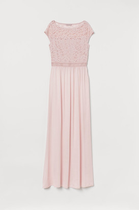 H&M Lace-detail Maxi Dress - Pink