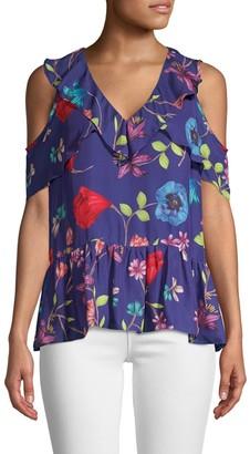 Parker Dedra Floral Cold-Shoulder Blouse